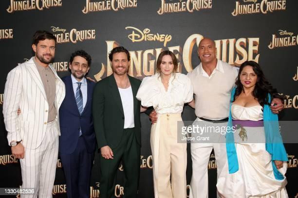 Jack Whitehall, Jaume Collet-Serra, Édgar Ramírez, Emily Blunt, Dwayne Johnson, and Veronica Falcón arrive at the world premiere for JUNGLE CRUISE,...