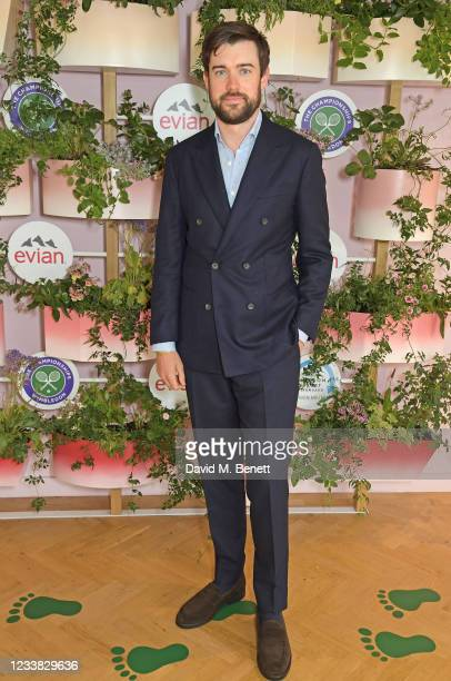 Jack Whitehall poses in evian's VIP suite, certified as carbon neutral by The Carbon Trust, during day eight of The Championships at Wimbledon on...