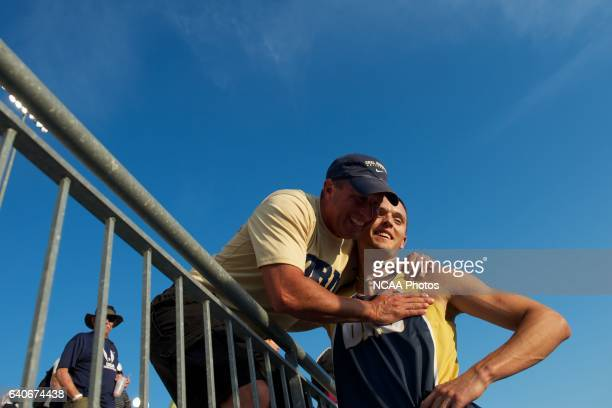 Jack Whitt of Oral Roberts University celebrates his win in the men's pole vault during the Division I Men's and Women's Outdoor Track and Field...