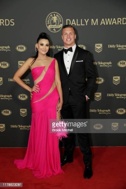 Jack Wighton and Monisha LewFatt arrive ahead of the 2019 Dally M Awards at Hordern Pavilion on October 02 2019 in Sydney Australia