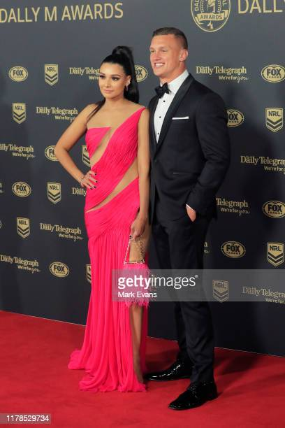 Jack Wighton of Canberra poses with Monisha LewFatt ahead of the 2019 Dally M Awards at the Hordern Pavilion on October 02 2019 in Sydney Australia