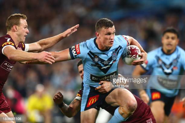 Jack Wighton of the Blues makes a break during game three of the 2021 State of Origin Series between the New South Wales Blues and the Queensland...