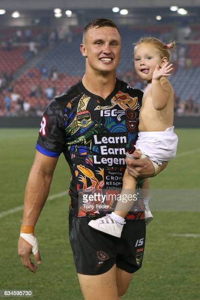 Jack Wighton of the Indigenous All Stars with his daughter during the NRL All Stars match between the 2017 Harvey Norman All Stars and the NRL World...