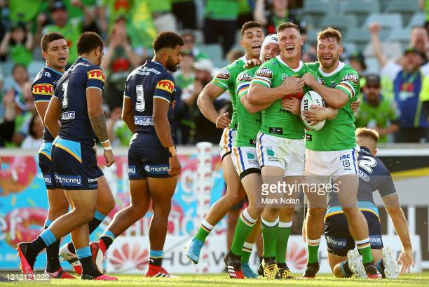 Jack Wighton of the Raiders celebrates ascoring a try during the round 1 NRL match between the Canberra Raiders and the Gold Coast Titans at GIO...