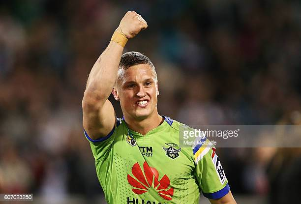 Jack Wighton of the Raiders celebrates victory in the second NRL Semi Final match between the Canberra Raiders and the Penrith Panthers at GIO...