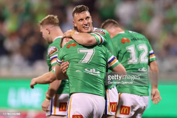 Jack Wighton of the Raiders congratulates try-scorer George Williams of the Raiders during the NRL Elimination Final match between the Canberra...