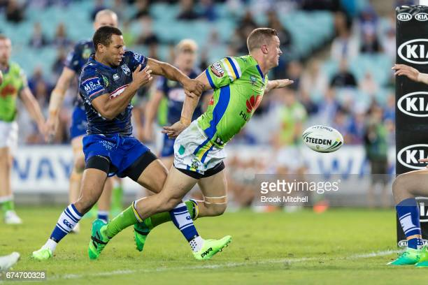 Jack Wighton of the Raiders dives for the line during the round nine NRL match between the Canterbury Bulldogs and the Canberra Raiders at ANZ...
