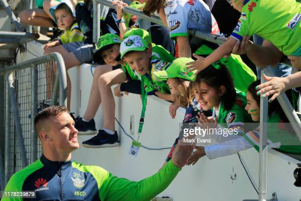 Jack Wighton of the Raiders greets fans during a Canberra Raiders Training Session Media Opportunity at GIO Stadium on October 01 2019 in Canberra...
