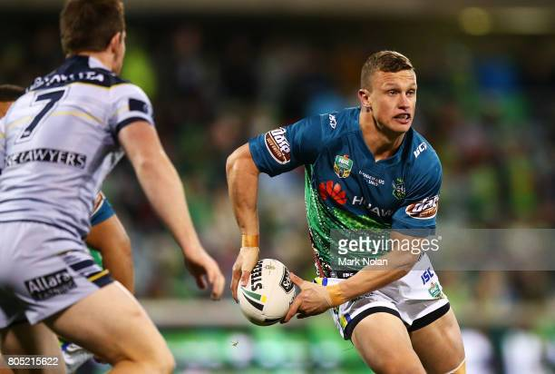 Jack Wighton of the Raiders in action during the round 17 NRL match between the Canberra Raiders and the North Queensland Cowboys at GIO Stadium on...