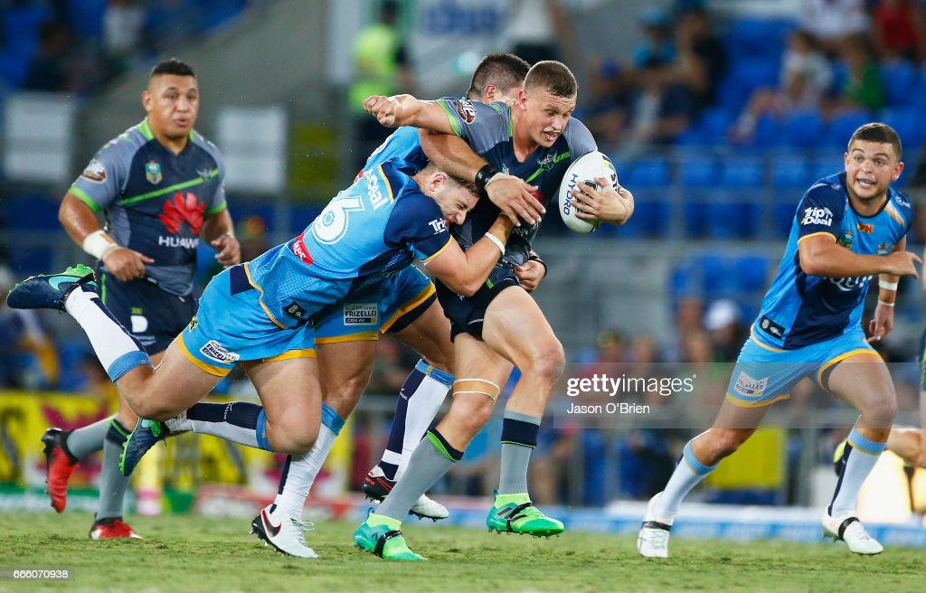Jack Wighton of the Raiders in action during the round six NRL match between the Gold Coast Titans and the Canberra Raiders at Cbus Super Stadium on April 8, 2017 in Gold Coast, Australia.