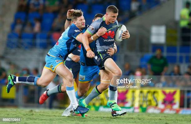 Jack Wighton of the Raiders in action during the round six NRL match between the Gold Coast Titans and the Canberra Raiders at Cbus Super Stadium on...