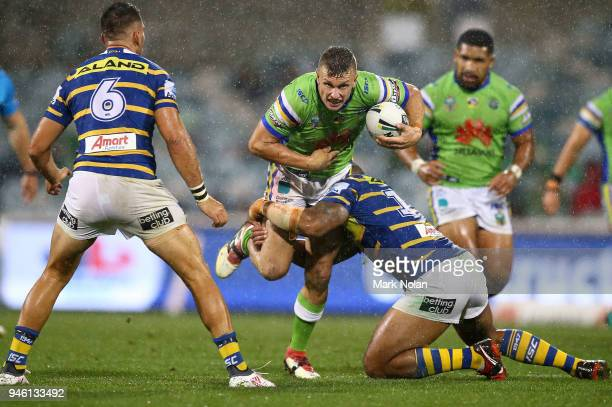 Jack Wighton of the Raiders in action during the round six NRL match between the Canberra Raiders and the Parramatta Eels at GIO Stadium on April 14...