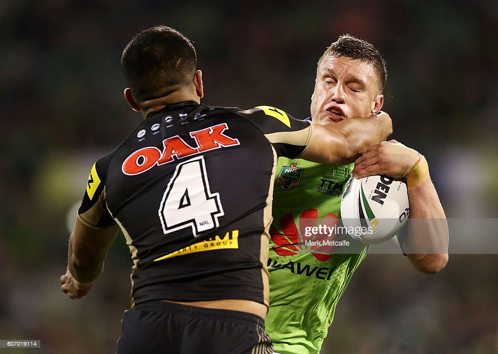 Jack Wighton of the Raiders is tackled by Tyrone Peachey of the Panthers during the second NRL Semi Final match between the Canberra Raiders and the Penrith Panthers at GIO Stadium on September 17, 2016 in Canberra, Australia.