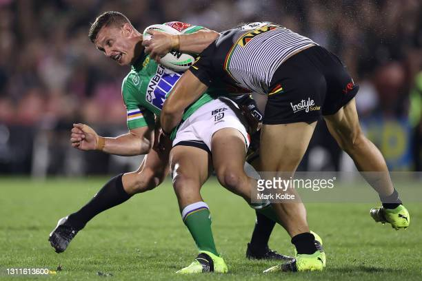 Jack Wighton of the Raiders is tackled during the round five NRL match between the Penrith Panthers and the Canberra Raiders at BlueBet Stadium on...