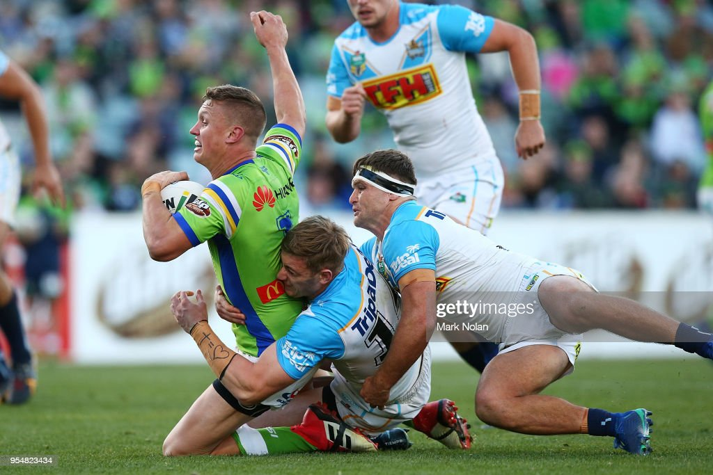 Jack Wighton of the Raiders is tackled during the round nine NRL match between the Canberra Raiders and the Gold Coast Titans at GIO Stadium on May 5, 2018 in Canberra, Australia.