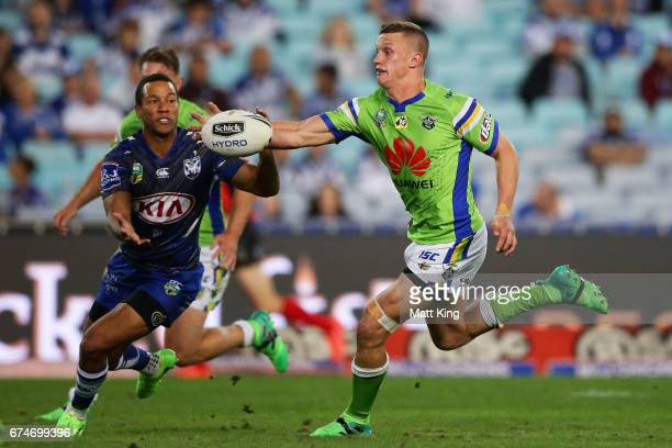 Jack Wighton of the Raiders reaches for the ball during the round nine NRL match between the Canterbury Bulldogs and the Canberra Raiders at ANZ...