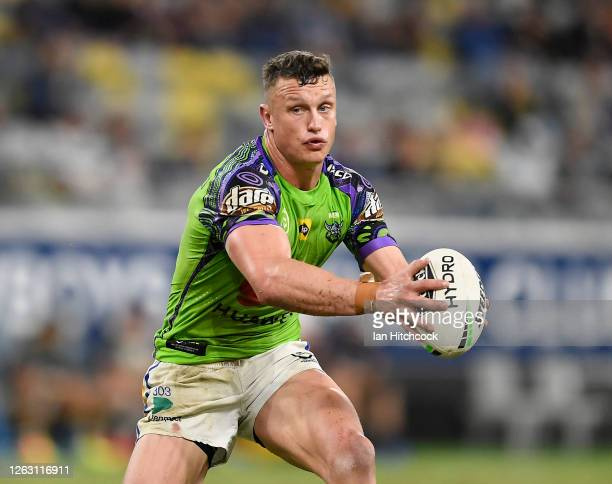 Jack Wighton of the Raiders runs the ball during the round 12 NRL match between the North Queensland Cowboys and the Canberra Raiders at QCB Stadium...