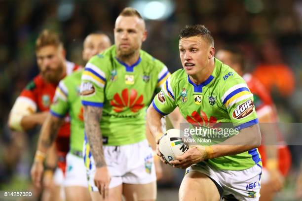 Jack Wighton of the Raiders runs the ball during the round 19 NRL match between the Canberra Raiders and the St George Illawarra Dragons at GIO...