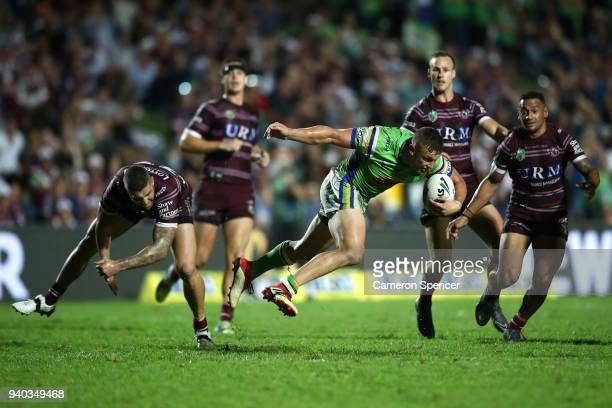 Jack Wighton of the Raiders runs the ball during the round four NRL match between the Many Sea Eagles and the Canberra Raiders at Lottoland on March...