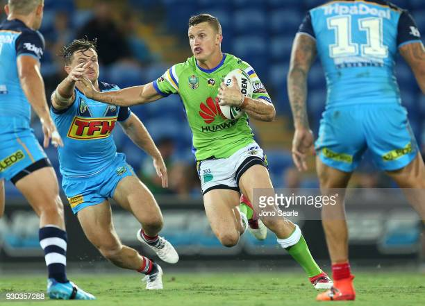 Jack Wighton of the Raiders runs with the ball during the round one NRL match between the Gold Coast Titans and the Canberra Raiders at Cbus Super...