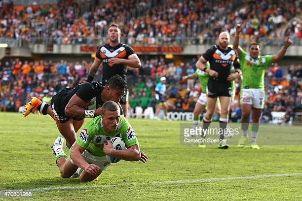 Jack Wighton of the Raiders scores a try during the round seven NRL match between the Wests Tigers and the Canberra Raiders at Leichhardt Oval on...