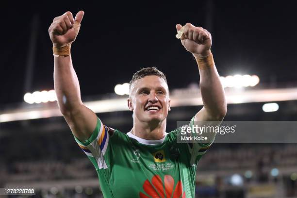 Jack Wighton of the Raiders thanks the crowd after winning the NRL Elimination Final match between the Canberra Raiders and the Cronulla Sharks at...