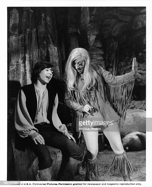 Jack Wild and Billie Hayes singing in a scene from the film 'Pufnstuf' 1970