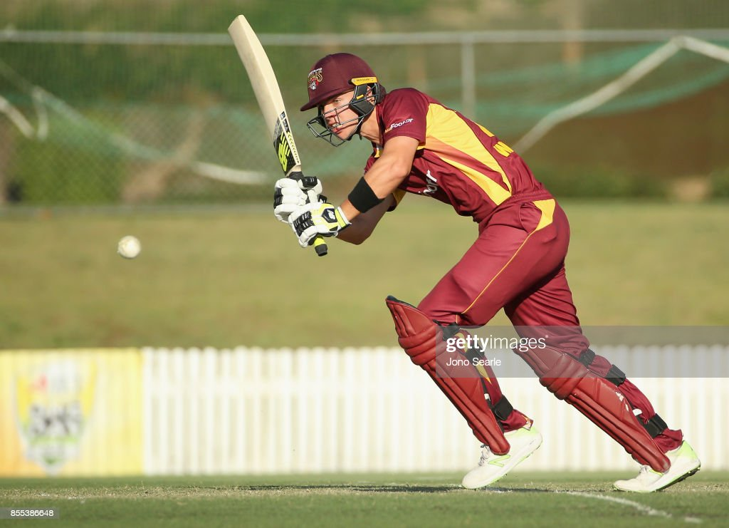 Jack Wildermuth of QLD plays a shot during the JLT One Day Cup match between Queensland and the Cricket Australia XI at Allan Border Field on September 29, 2017 in Brisbane, Australia.