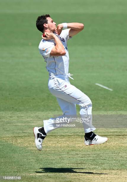 Jack Wildermuth of Queensland bowls during day two of the Sheffield Shield match between Queensland and Tasmania at Riverway Stadium, on October 28...