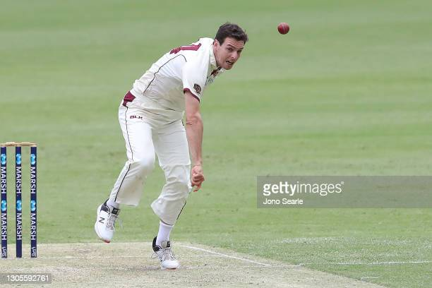 Jack Wildermuth of the Bulls bowls during day one of the Sheffield Shield match between Queensland and Western Australia at The Gabba on March 06,...