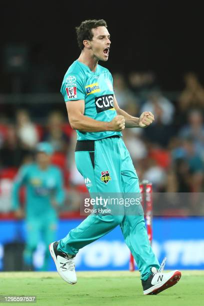 Jack Wildermuth of the Heat celebrates after dismissing Josh Philippe of the Sixers during the Big Bash League match between the Sydney Sixers and...