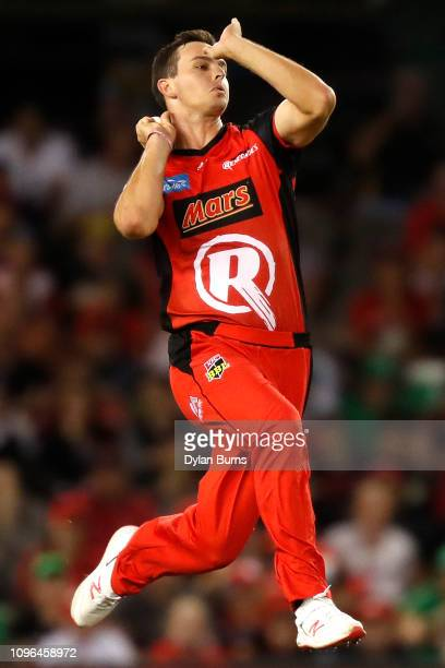 Jack Wildermuth of the Renegades bowls during the Big Bash League match between the Melbourne Renegades and the Melbourne Stars at Marvel Stadium on...