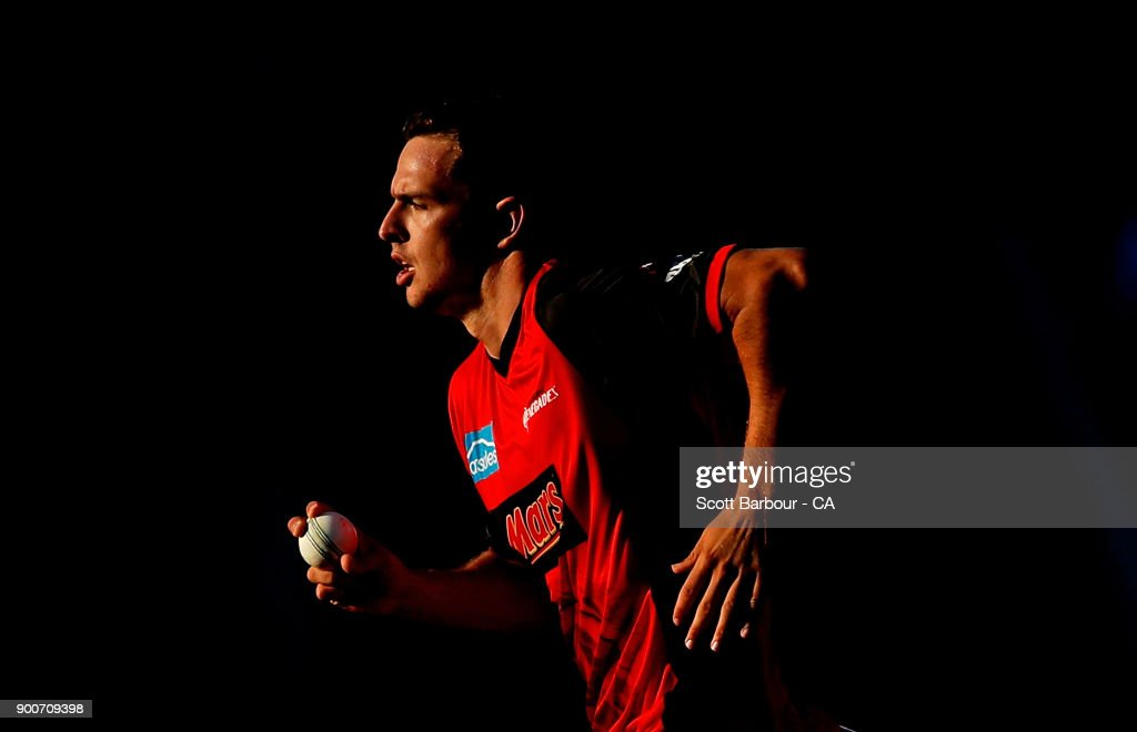 Jack Wildermuth of the Renegades bowls during the Big Bash League match between the Melbourne Renegades and the Sydney Sixers on January 3, 2018 in Geelong, Australia.