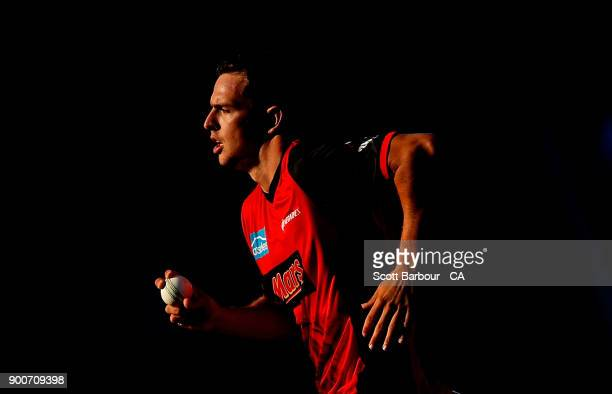 Jack Wildermuth of the Renegades bowls during the Big Bash League match between the Melbourne Renegades and the Sydney Sixers on January 3 2018 in...