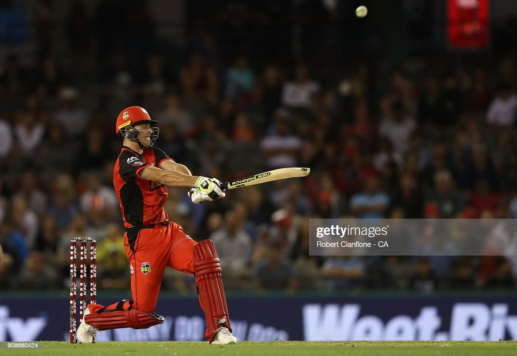 Jack Wildermuth of the Renegades hits out during the Big Bash League match between the Melbourne Renegades and the Adelaide Strikers at Etihad Stadium on January 22, 2018 in Melbourne, Australia.