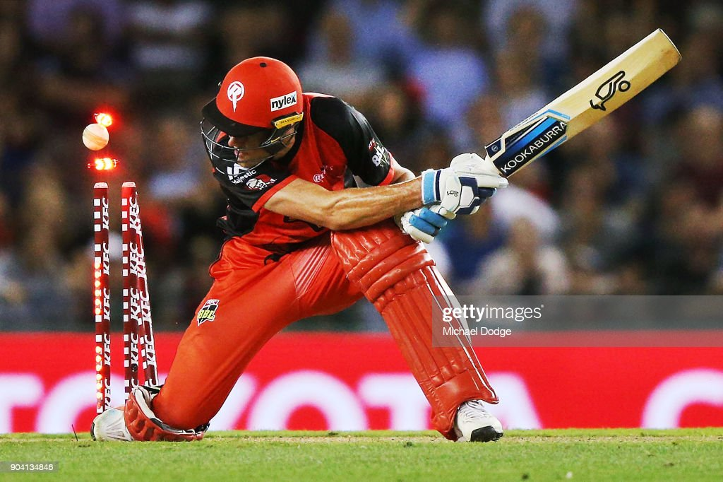 Jack Wildermuth of the Renegades is bowled during the Big Bash League match between the Melbourne Renegades and the Melbourne Stars at Etihad Stadium on January 12, 2018 in Melbourne, Australia.