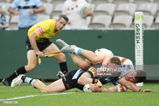 Jack Williams of the Sharks scores a try during the round 14 NRL match between the Cronulla Sharks and the Gold Coast Titans at Netstrata Jubilee...