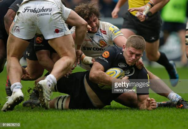 Jack Willis of Wasps tackled by Alec Hepburn of Exeter Chiefs during the Aviva Premiership match between Wasps and Exeter Chiefs at The Ricoh Arena...