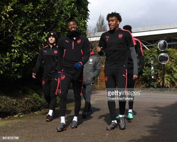 Jack Wilshere Ainsley MaitlandNiles and Alex Iwobi of Arsenal during a training session at London Colney on April 4 2018 in St Albans England