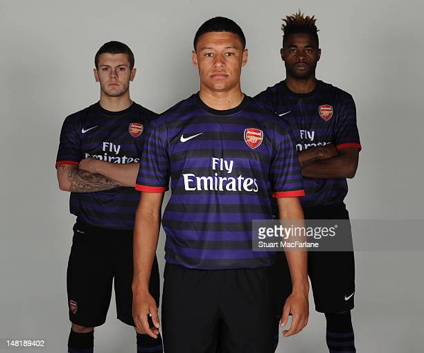 LR Jack Wilshere Alex OxladeChamberlain and Alex Song of Arsenal model the new Arsenal away kit at London Colney on April 26 2012 in St Albans England