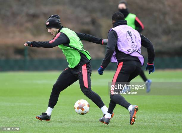 Jack Wilshere and Ainsley MaitlandNiles of Arsenal during a training session at London Colney on April 4 2018 in St Albans England