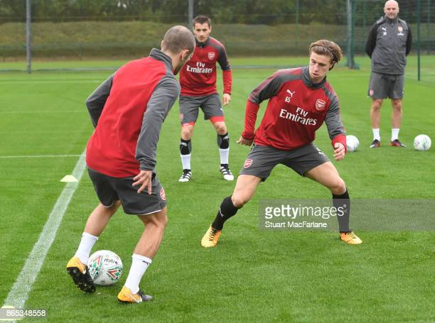 Jack Wilshere and Ben Sheaf of Arsenal during a training session at London Colney on October 23 2017 in St Albans England