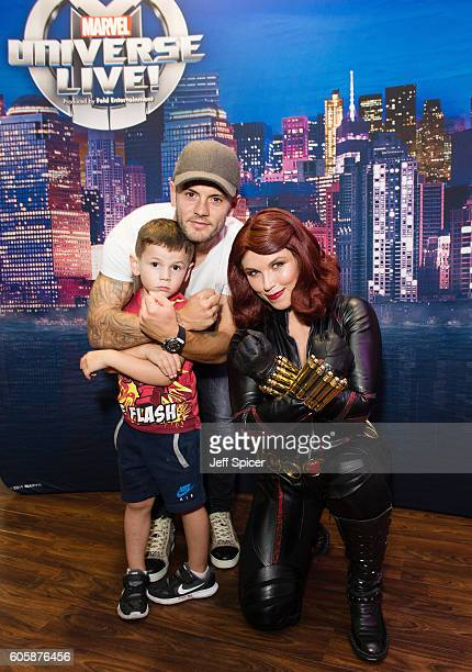 Jack Wilshere and Black Widow attend the opening night of Marvel Universe LIVE At The O2 in London where they experienced an epic live entertainment...