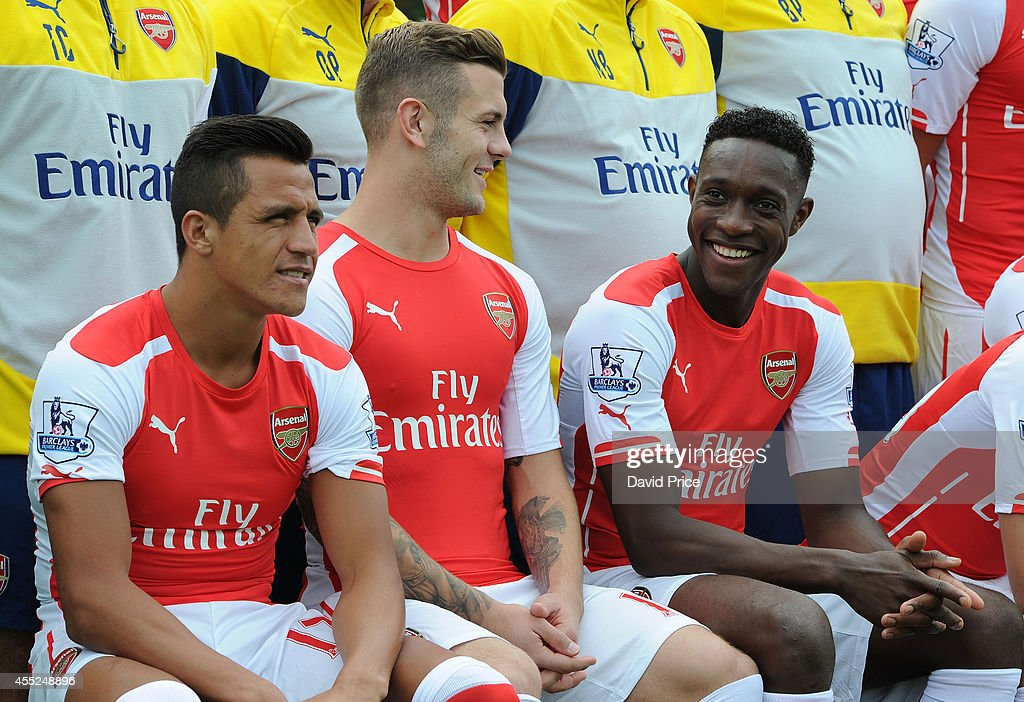 Jack Wilshere and Danny Welbeck of Arsenal during the 1st team squad photo at London Colney on September 11, 2014 in St Albans, England.