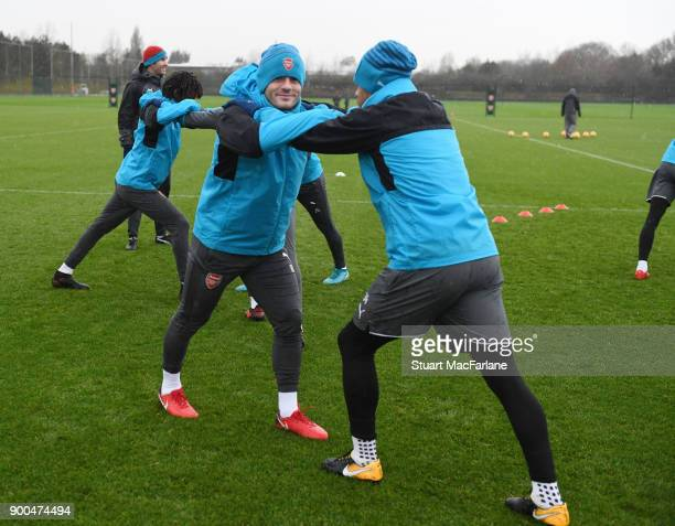 Jack Wilshere and Francis Coquelin of Arsenal during a training session at London Colney on January 2 2018 in St Albans England