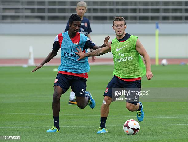Jack Wilshere and Gedion Zelalem of Arsenal FC in Japan for the club's preseason Asian tour at the Urawa Komaba Stadium on July 25 2013 in Saitama...