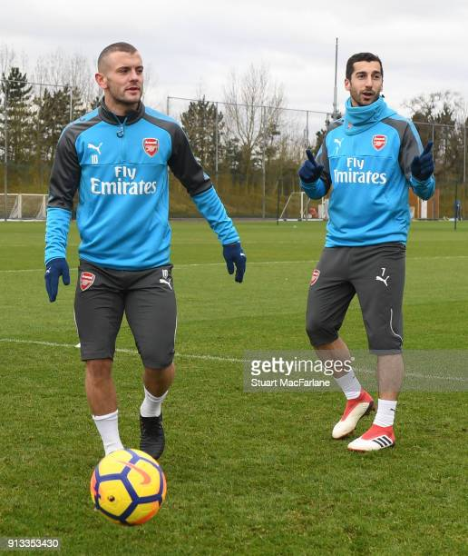 Jack Wilshere and Henrikh Mkhitaryan of Arsenal during a training session at London Colney on February 2 2018 in St Albans England