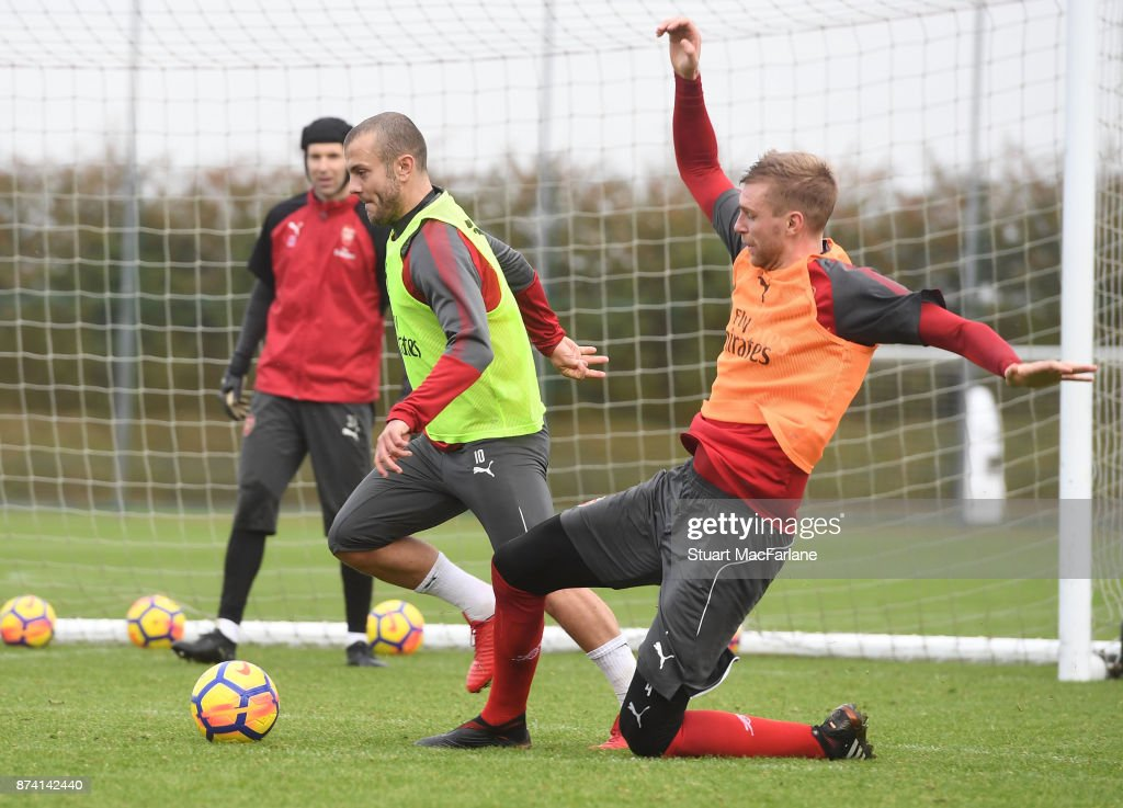Jack Wilshere and Per Mertesacker of Arsenal during a training session at London Colney on November 14, 2017 in St Albans, England.