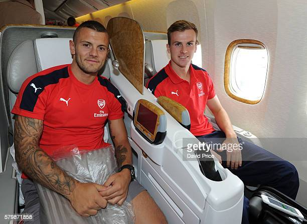 Jack Wilshere and Rob Holding of Arsenal on the plane at Stansted Airport on July 25 2016 in London England