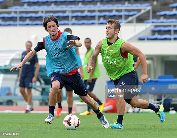 Jack Wilshere and Tomas Rosicky of Arsenal FC in Japan for the club's preseason Asian tour at the Urawa Komaba Stadium on July 25 2013 in Saitama...